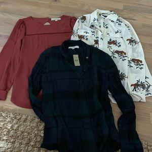 Lot of 3 loft / Ann Taylor blouses